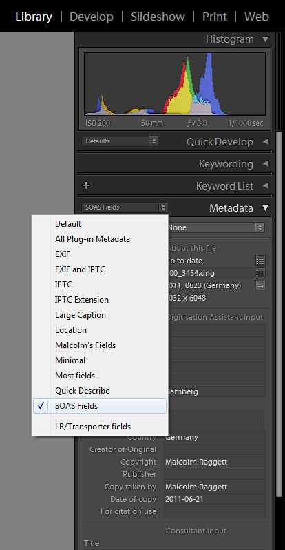 Lightroom screenshot showing drop-down list